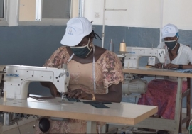 Young tailors in Guinea offer a new product to step up safety measures to contain coronavirus infect