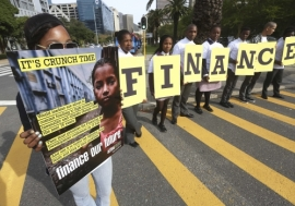 South African youths protest outside the  Cape Town Convention Centre against inequalities.    Photo: AMO/ Esa Alexander