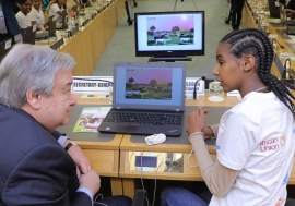 Secretary-General António Guterres attends a Science, Technology, Engineering and Mathematics (STEM) Event on Digital Coding at the 32nd Assembly of the African Union in Addis Ababa, Ethiopia. Photo Credits:UN Photo/Antonio Fiorente
