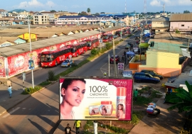 An ad of a skin whitening cosmetic product in Kumasi, Ghana.