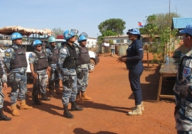 Vera Ayensu, a UN police officer from Ghana, instructs her colleagues in Wau.