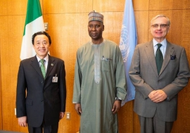 From left: FAO Director-General QU Dongyu, United Nations General Assembly President Tiijani Muhammad-Bande and Jorge Chediek, Director of the UN office for South-South Cooperation.
