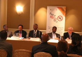Mr. Thabo Mbeki (middle) led a High-Level Panel on IFF to    the United States. Photo: Africa Renewal/Paddy Ilos