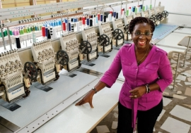 Awurabena Okrah, CEO and founder of Winglow, a textile and fashion business in Accra, Ghana. Many women are venturing into business. Photo: Panos/Nyani Quarmyne