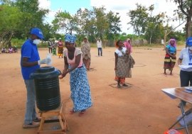 Shelter distribution for displaced families in Cabo Delgado, Mozambique incorporates social distancing, hand washing and other COVID-19 precautions.