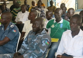 Police officers in Eastern Equatoria learning about human rights laws and principles.