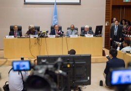 Secretary-General Ban Ki-moon holds press conference in Addis Ababa, Ethiopia, with Senior Advisors summing up activities as part of 26th African Union Summit. UN Photo/Eskinder Debebe