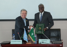 In Addis Ababa, Ethiopia, United Nations Secretary-General António Guterres and Moussa Faki, Chairperson of the African Union Commission, sign a Framework Agreement between the two organizations.
