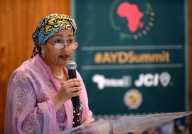 UN Deputy Secretary-General Amina J. Mohammed addressing the Africa Youth Development Summit, in Johannesburg, South Africa. Photo Credits: UN News/Rebecca Hearfield