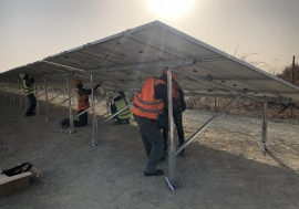 Final stages of the solar power plant installation at the Humanitarian Hub in Malakal, South Sudan