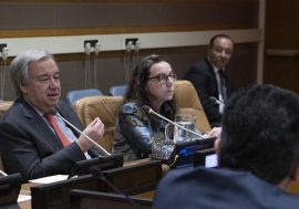 Secretary-General António Guterres (left) delivers his remarks at the meeting of principals on the United Nations Disability Inclusion Strategy.