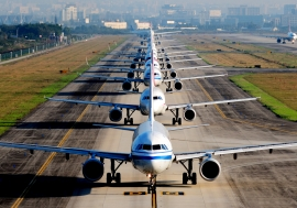 Airplanes waiting for take off.