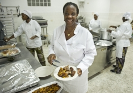 Chef and owner of a restaurant and catering company in Liberia. Photo: UN/ C. Herwig