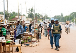 Peacekeepers patrol the Muslim enclave in the capital city of Bangui in the Central African Republic (CAR).