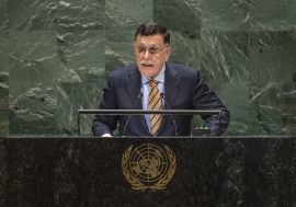 Faiez Mustafa Serraj, President of the Presidency Council of the Government of National Accord of the State of Libya, addresses the general debate of the General Assembly's seventy-fourth session.