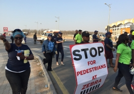 Pedestrians First activists in Lusaka on early morning walk to advocate for safer walkways and zebra