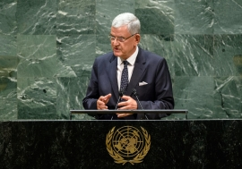 Volkan Bozkir, President of the 75th session of the United Nations General Assembly, delivers ...