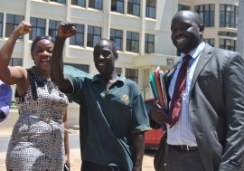 Ms. Phyllis Omido on the left, one of the lead poisoning victims, and her lawyer at the Mombasa ...