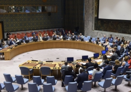 A wide view of the UN Security Council chamber