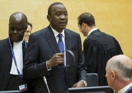 Uhuru Muigai Kenyatta at the Status conference on 8 October 2014. The Hague, Trial Chamber V(b) of the International Criminal Court (ICC) held two status conferences in the case The Prosecutor v. Uhuru Muigai Kenyatta at the seat of the Court in The Hague