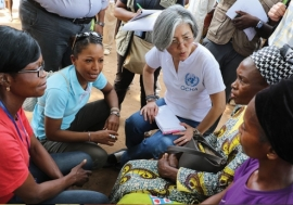 UN Deputy Emergency Relief Coordinator Kyung-wha Kang (centre) during her visit to the Central African Republic in February 2015. Photo: OCHA/C. Illemassene