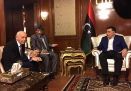 Director General William Lacy Swing  meets Libya Prime Minister Fayez Mustafa al-Sarraj