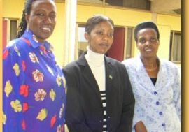 Three of the 39 women elected to Rwanda's legislature in September 2003. From left: Constance Rwaka, Solange Tuyisenge and Athanasie Gahondogo.