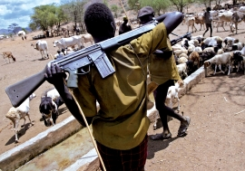 Armed Turkana herdsmen guard their livestock at a watering hole at Oropoyi in Kenya