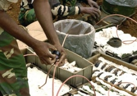 A demining company prepares to destroy anti-personnel landmines