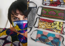 Ms Mounia Lazali modeling the facemasks she has crafted