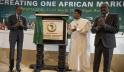 African Union chairperson and president of Rwanda Paul Kagame, president of Niger Mahamadou Issoufou and African Union Commission chairperson Moussa Faki Mahamat at the launch of AfCFTA in Kigali in March 2018.