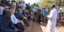 UN Secretary-General António Guterres (seated, third from left) in a camp for internally displaced persons in Bangassou, Central African Republic. Photo: UN Photo/Eskinder Debebe