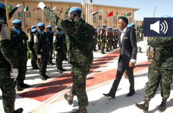 UNAMID 's new Joint Special Representative, Martin Uhomoibhi, reviewed a military guard of honour parade shortly after his arrival at the Mission's headquarters in El Fasher, North Darfur, to assume his new functions. Photo: UNAMID/Mohamad Almahady.