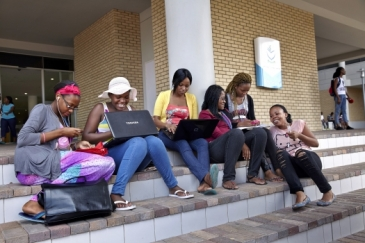 A group of students at North-West University in Gaborone, Botswana.     Panos/ Marc Shoul