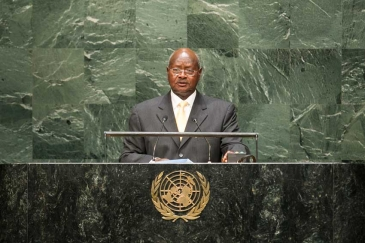 Yoweri Kaguta Museveni, President of the Republic of Uganda, addresses the general debate of the sixty-ninth session of the General Assembly. UN Photo/Cia Pak