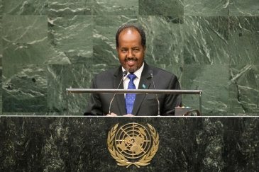 Hassan Sheikh Mohamud, President of the Somali Republic, addresses the General Assembly. UN Photo/Kim Haughton