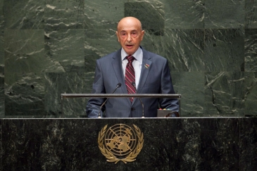 Agila Saleh Essa Gwaider, President of the House of Representatives, addresses the General Assembly. UN Photo/Kim Haughton