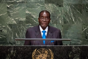 President Robert Mugabe of Zimbabwe addresses the general debate of the General Assembly's seventieth session. UN Photo/Amanda Voisard