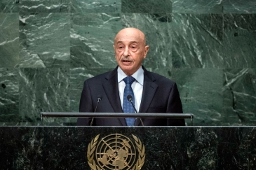 Agila Saleh Essa Gwaider, Acting Head of State of Libya, addresses the general debate of the General Assembly's seventieth session. UN Photo/Amanda Voisard