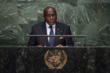 Permanent Representative of Côte d'Ivoire to the United Nations, Claude Stanislas Bouah-Kamon, addresses the general debate of the General Assembly's seventieth session. UN Photo/Cia Pak