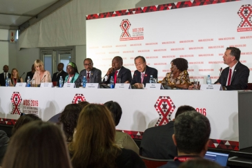 Secretary-General Ban Ki-moon (3rd right) speaks at the opening press conference of the 21st International AIDS Conference (AIDS 2016), in Durban, South Africa. UN Photo/Rick Bajornas