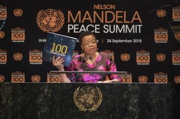Graça Machel, member of The Elders and widow of Nelson Mandela, makes remarks during the Nelson Mandela Peace Summit.