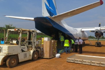 In Beni, north-eastern DRC, MONUSCO staff unload medical supplies and logistics from an aircraft,for use in the response against the Ebola outbreak in the region. Alongside the response, the country prepares to hold parliamentary election on 23 December