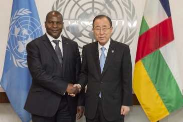 Secretary-General Ban Ki-moon (right) meets with Faustin Archange Touadera, President, Central African Republic (CAR). UN Photo/Eskinder Debebe
