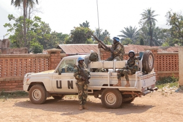 Peacekeepers from the UN mission in the Central African Republic (MINUSCA) on patrol in the country's capital, Bangui. (file photo)  Photo Credits: MINUSCA Photo