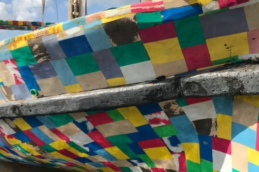 A close up view of the FlipFlopi dhow, a 9-metre traditional sailing boat made from 10 tonnes of discarded plastic. Credits: UN Environment
