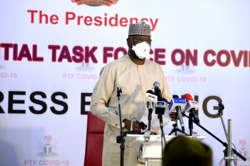 Mr. Boss Mustapha, Secretary to the Government of the Federation, speaking at the launch of the UN COVID-19 Basket Fund