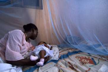 Infant surrounded by protective malaria bed net in Ghana. Photo: World Bank/Arne Hoel