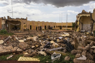 The G5 Sahel HQ destroyed by a terrorist attack on 29 June 2018 in Mopti, Mali. Photo Credits: MINUSMA/Harandane Dicko