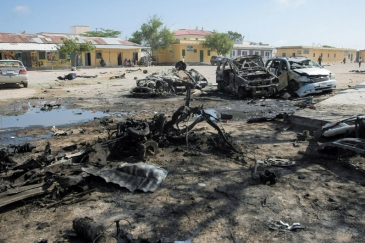 Destroyed cars in Mogadishu after the last deadly attack carried out by Al-Shabab just over three weeks ago. Photo Credits: Stuart Price/ UN Photo